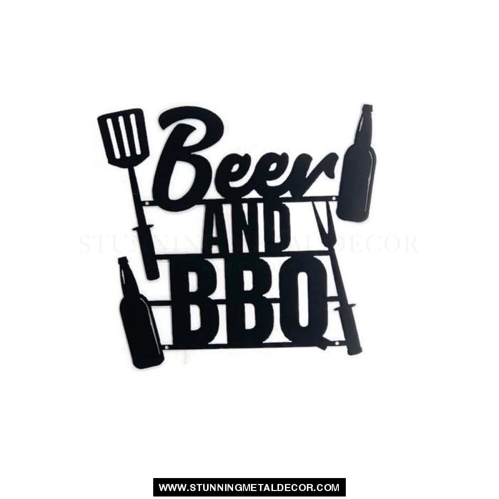 Beer And Bbq Metal Wall Art Black Signs