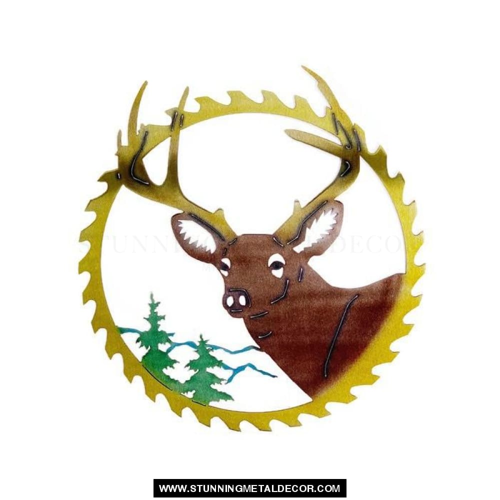 Buck Saw Blade Metal Wall Art Hunting