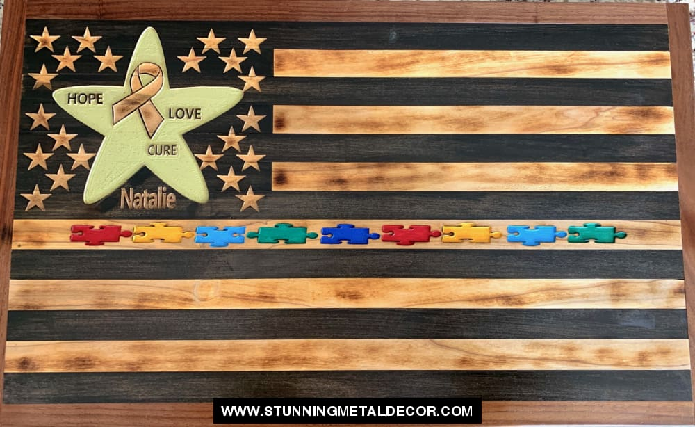 Cdkl5 / Autism American Flag Wood Wall Art 1 Foot (13X7) Flags