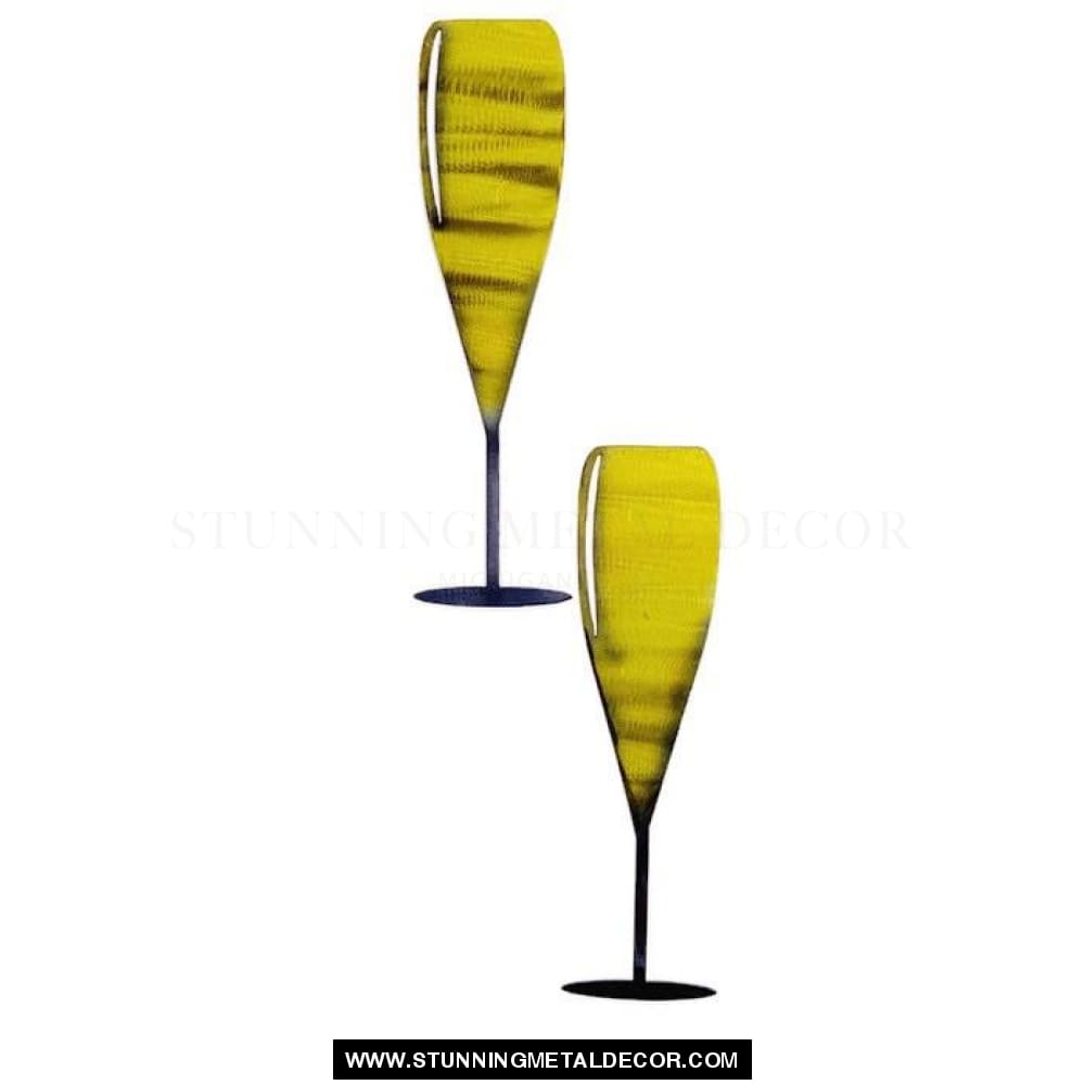Champagne Toasting Glasses Metal Wall Art Signs