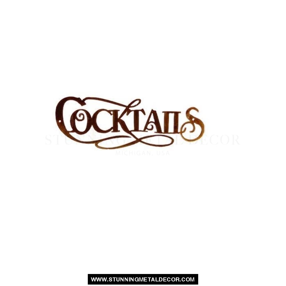 Cocktails Metal Wall Art Copper Bronze Signs