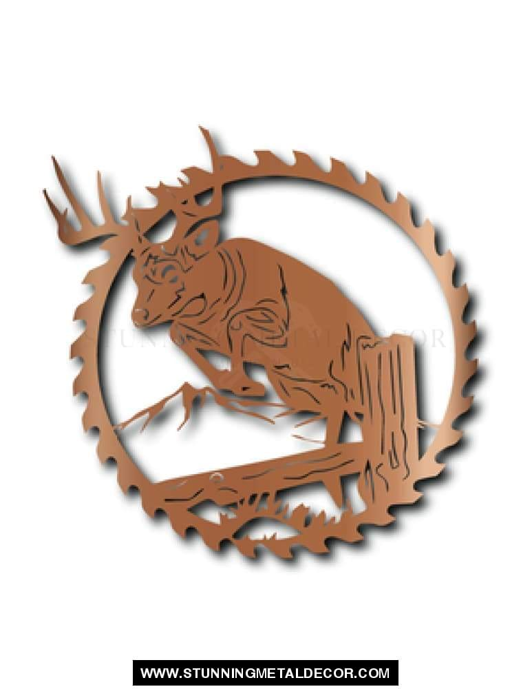 Deer Saw Blade Metal Wall Art Copper Hunting