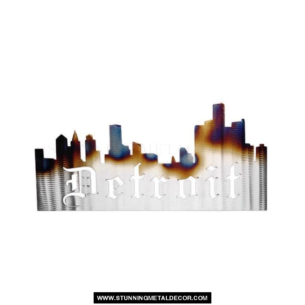 Detroit Skyline Sign Metal Wall Art Polished With Torch Signs