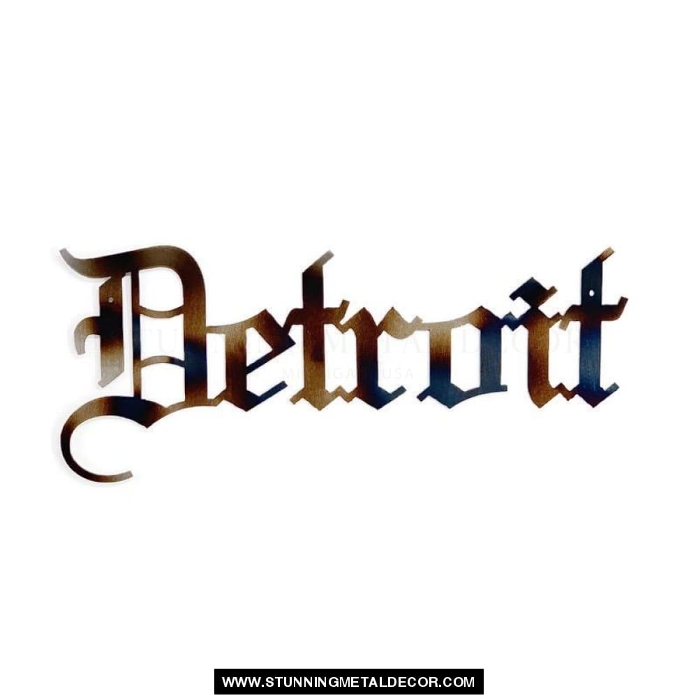Detroit Word Metal Wall Art Torched Signs