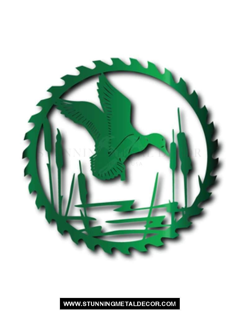 Duck Saw Blade Metal Wall Art Green Hunting
