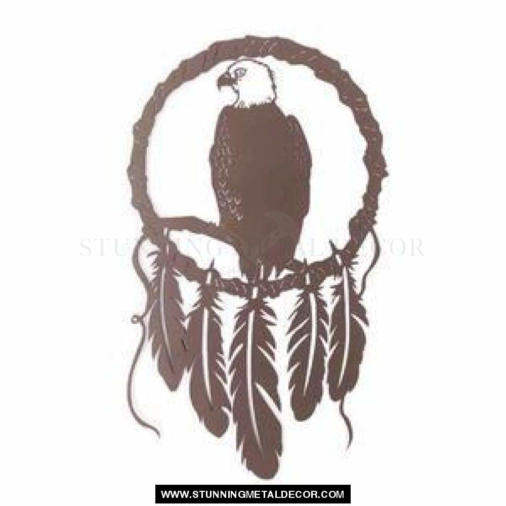 Eagle Dream Catcher Metal Wall Art Brown Hunting