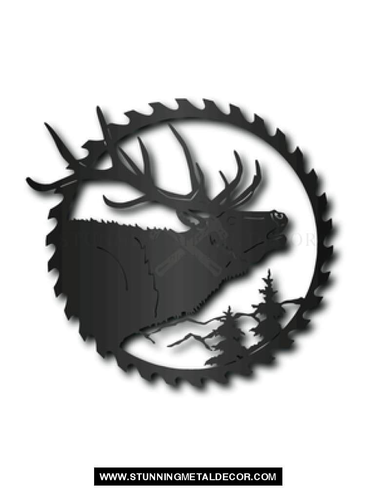 Elk Saw Blade Metal Wall Art Black Hunting