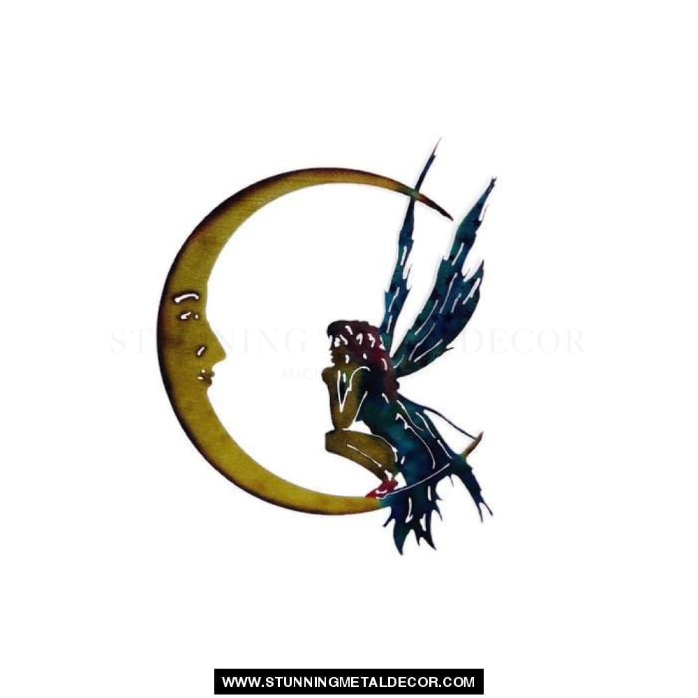 Fairy Moon Metal Yard Art 11.5X11