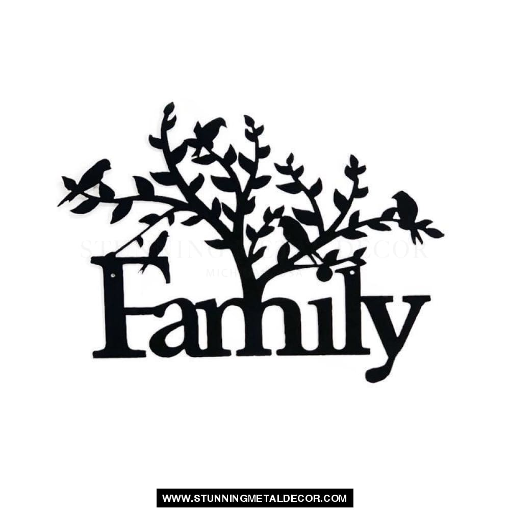 Family Tree word sign metal wall art