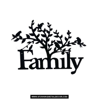 Family Tree Word Sign Metal Wall Art Black Powdercoat Signs