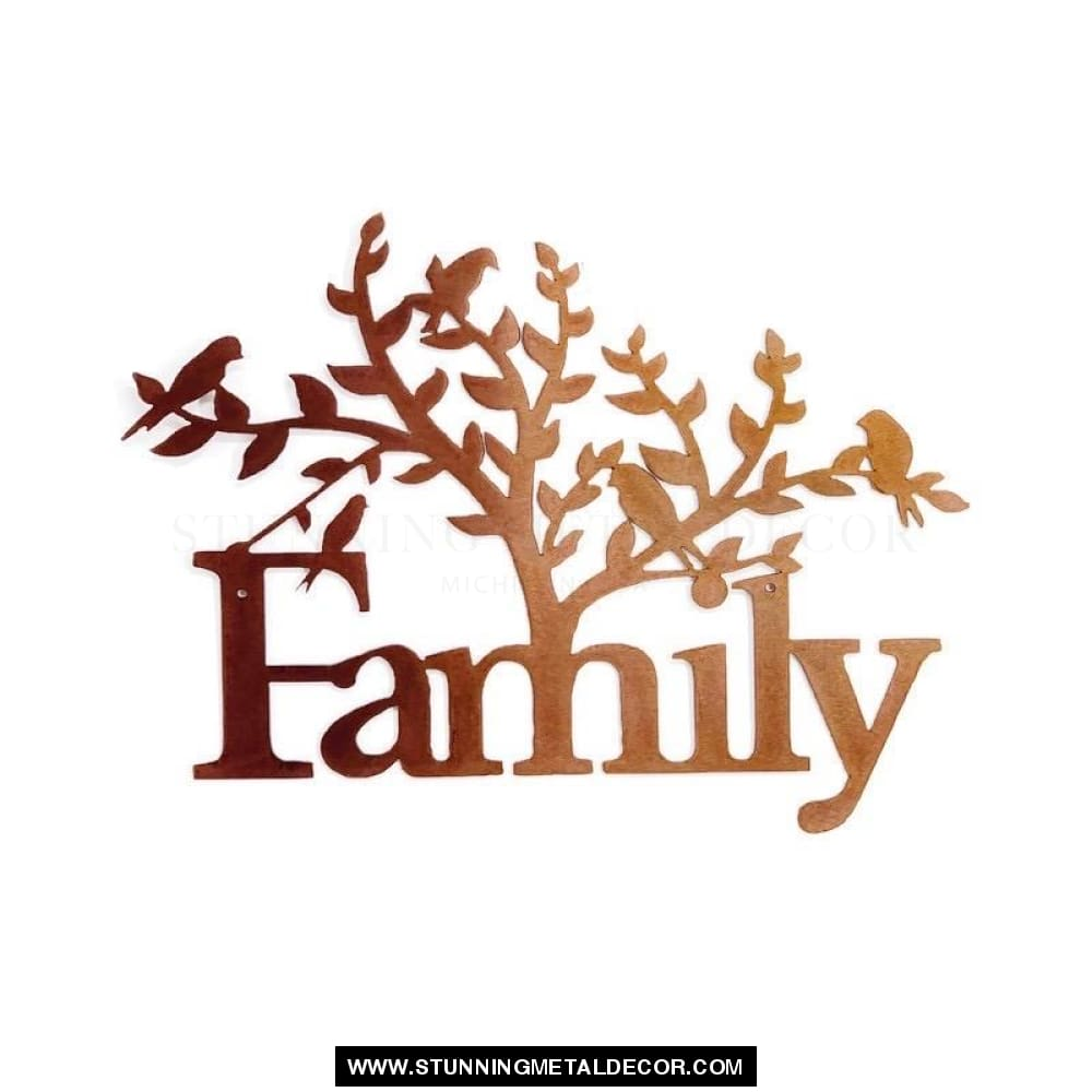 Family Tree Word Sign Metal Wall Art Copper Bronze Signs