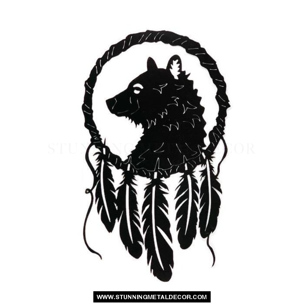 Fox Dream Catcher Metal Wall Art Black Hunting