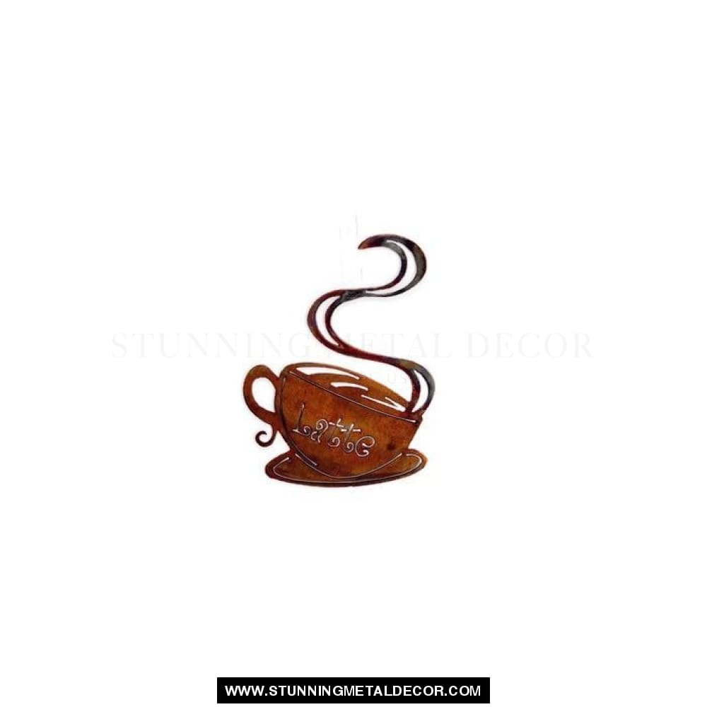 Hanging Coffee Cup Metal Wall Art Latte Signs