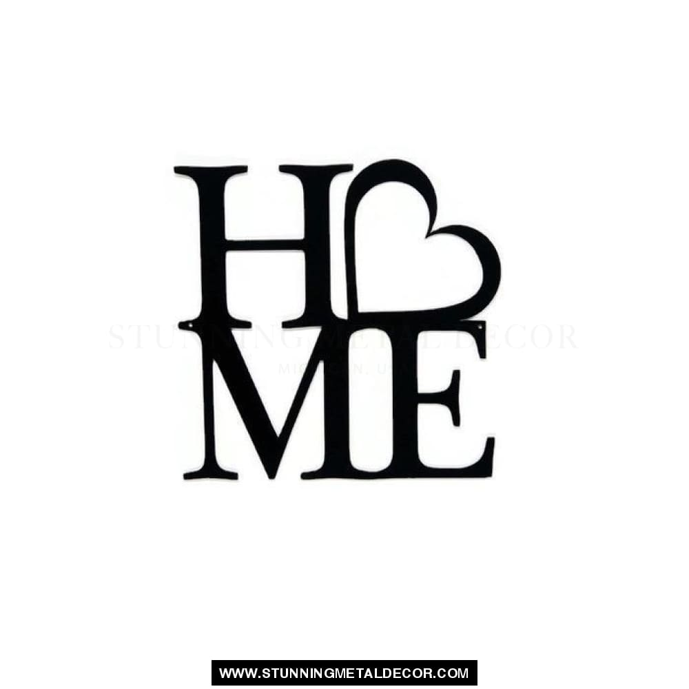 Home With Heart Sign Metal Wall Art Black Signs