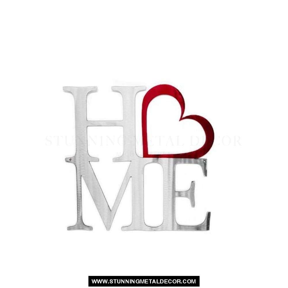Home With Heart Sign Metal Wall Art Polished Signs