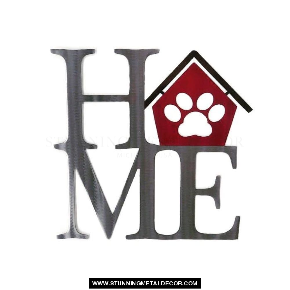 Home With Paw Print Sign Metal Wall Art Signs