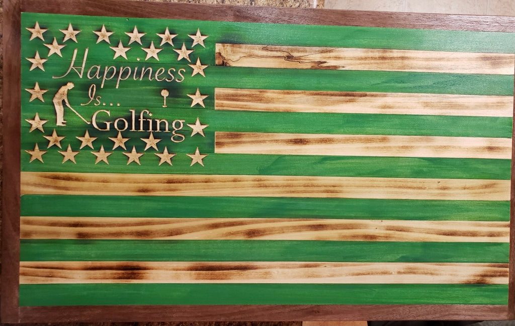Happiness is Golfing American Flag Wood Wall Art