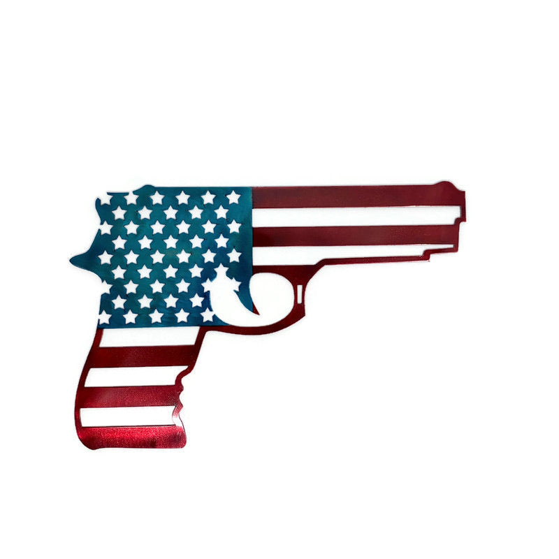 Handgun Flag Metal Wall Art