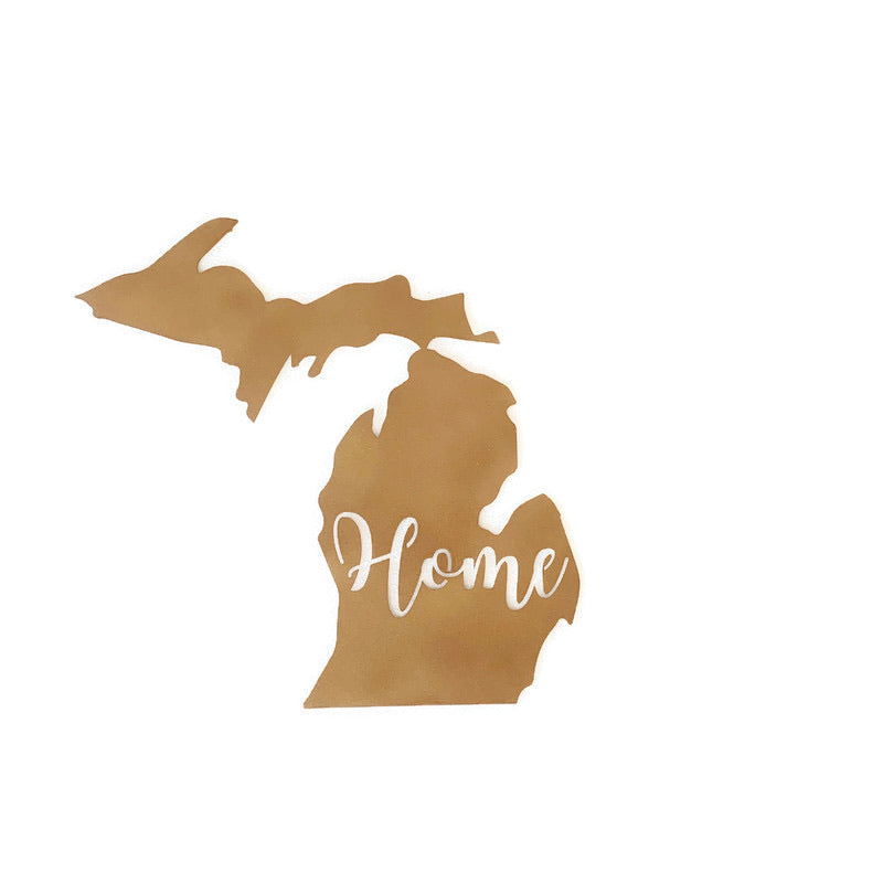 "Michigan ""Home"" sign metal wall art"