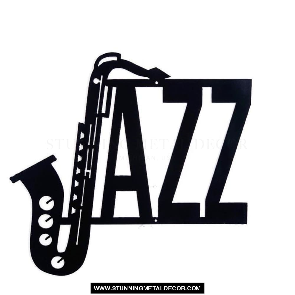 Jazz Music Metal Wall Art Black