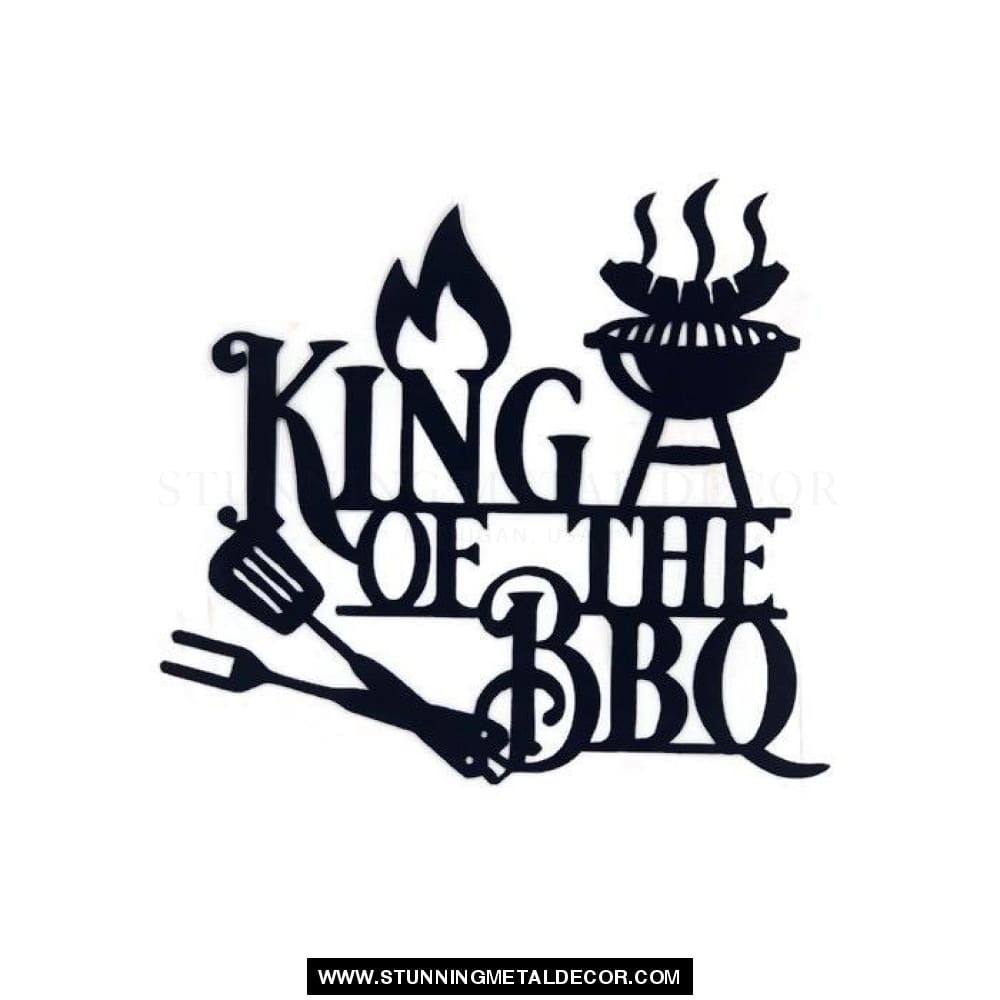 King Of The Bbq Metal Wall Art Black / 12 Signs