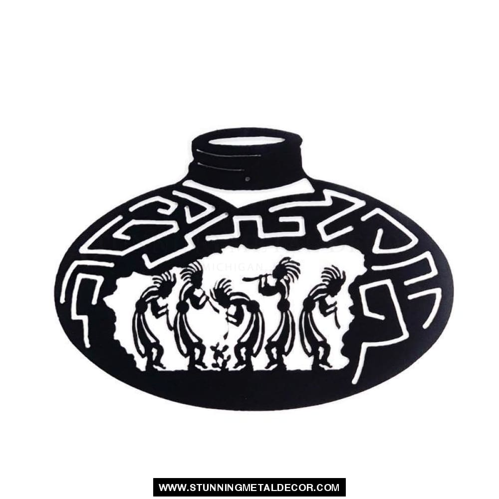 Kokopelli Pottery Jug Sign Metal Wall Art Black Signs