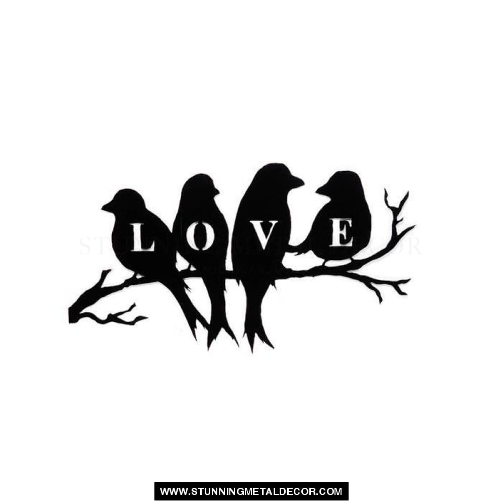 Love Birds On A Branch Metal Wall Art Black Powdercoat Signs
