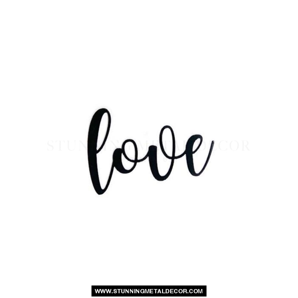 Love Cursive Metal Wall Art Black / Small Words