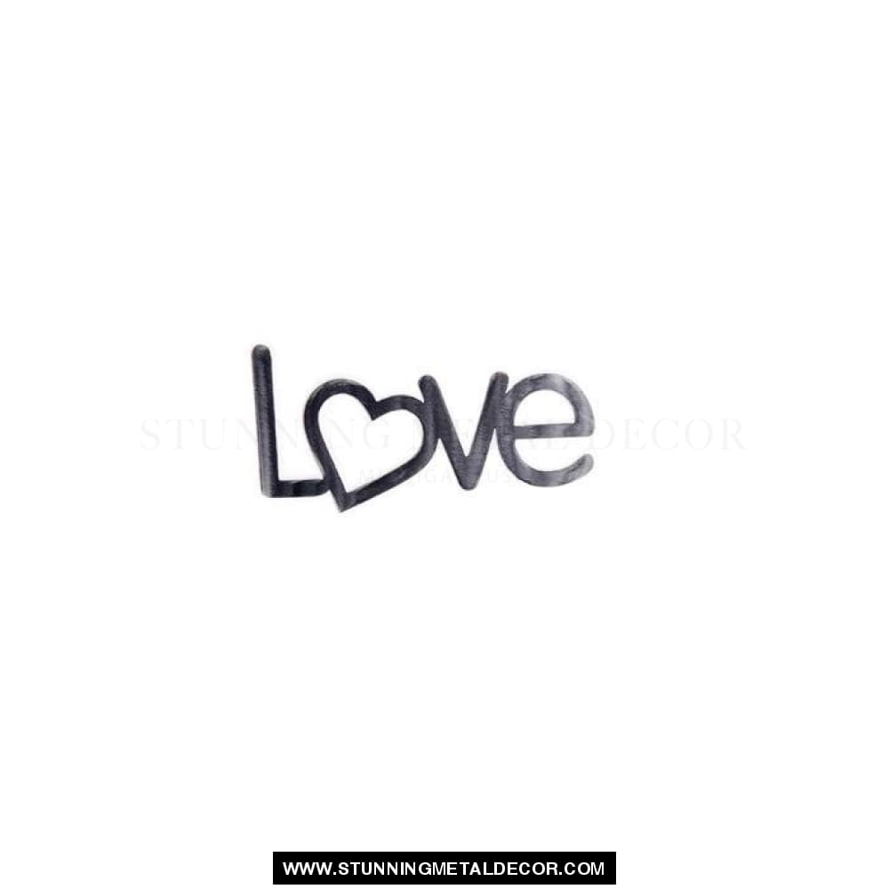 Love With Heart Metal Wall Art Words