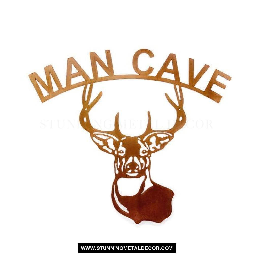 Man Cave Over Deer Metal Yard Art