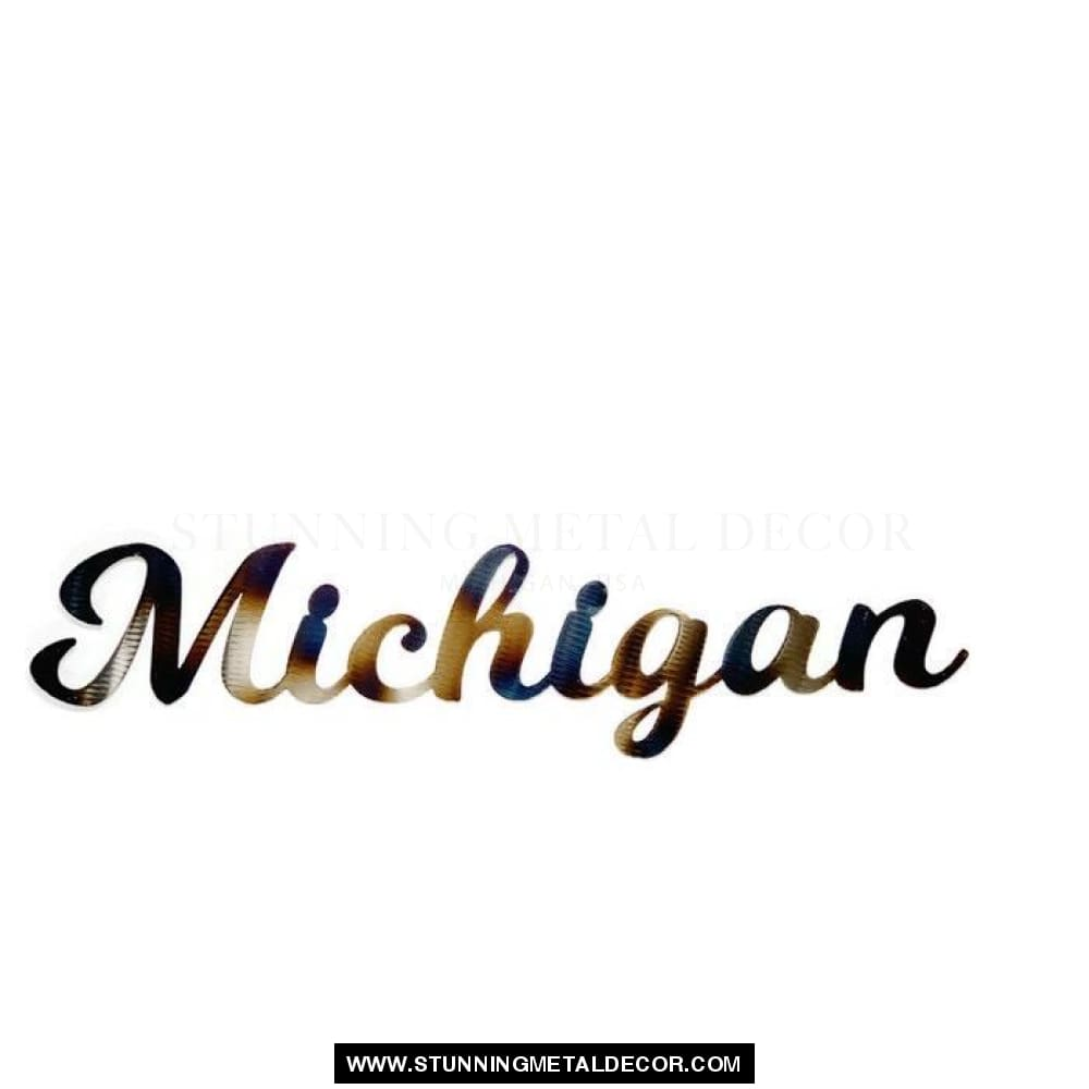Michigan Torched Sign Metal Wall Art 18X3 Signs