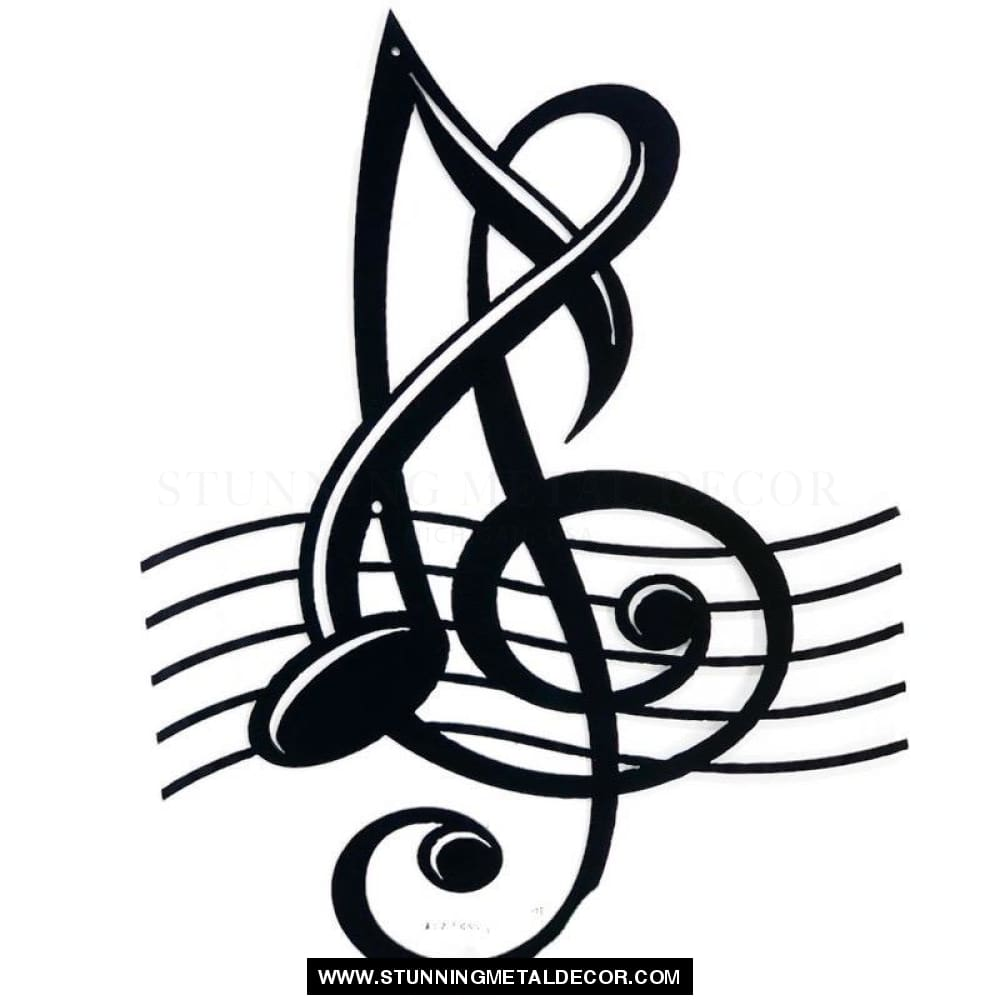Musical Clef Note Metal Wall Art Black Music
