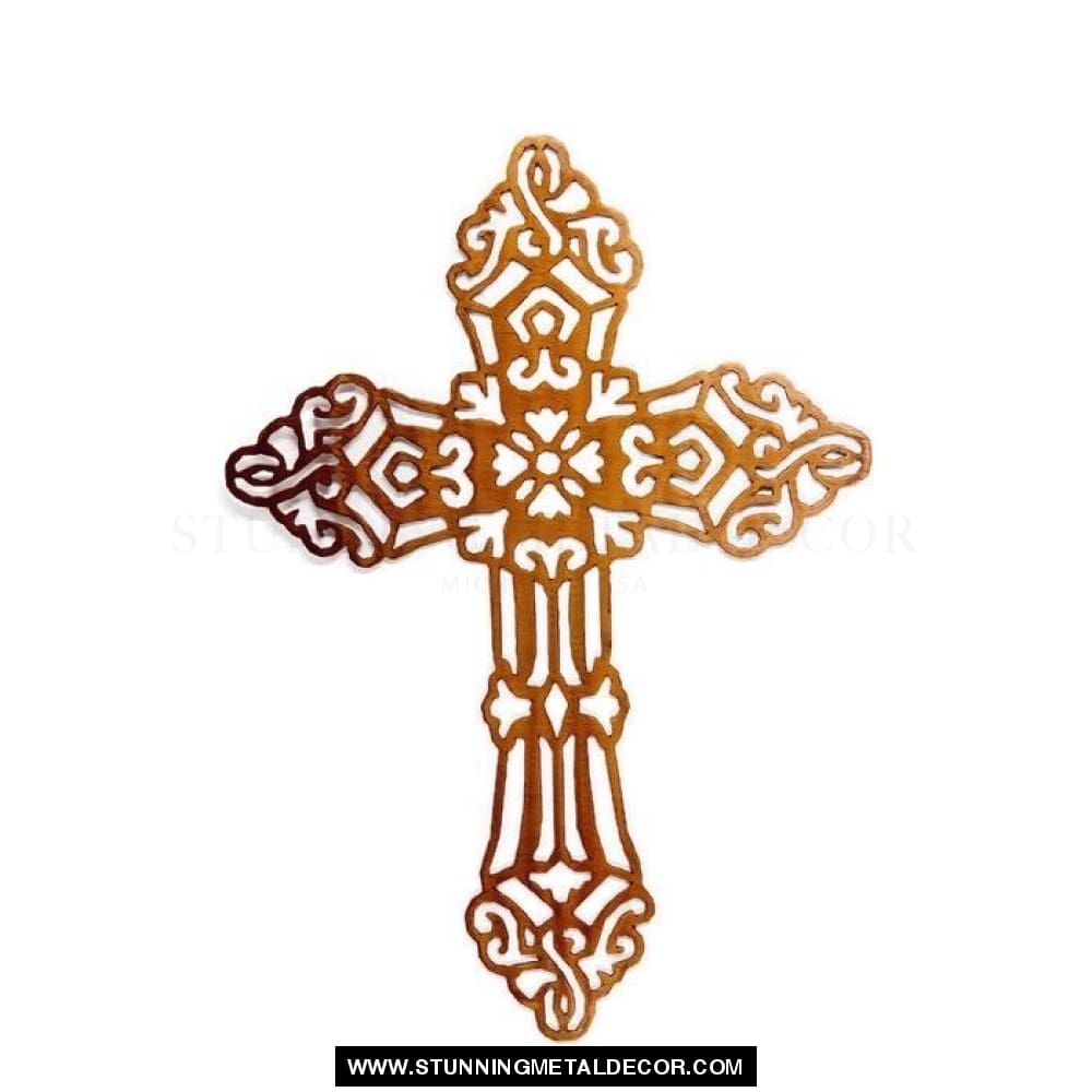 Religious Cross Metal Wall Art Copper Bronze Faith