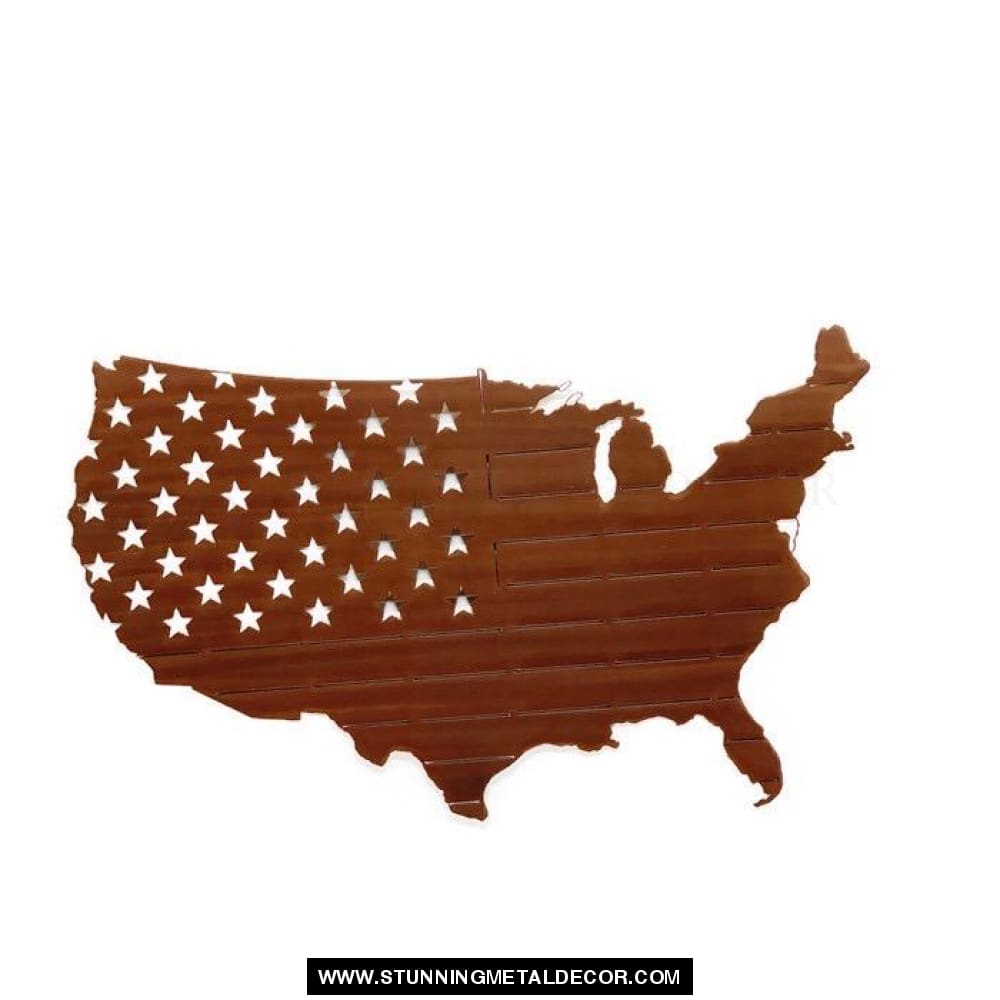 Usa Map Flag Metal Wall Art Copper Bronze / 24X16 Patriotic