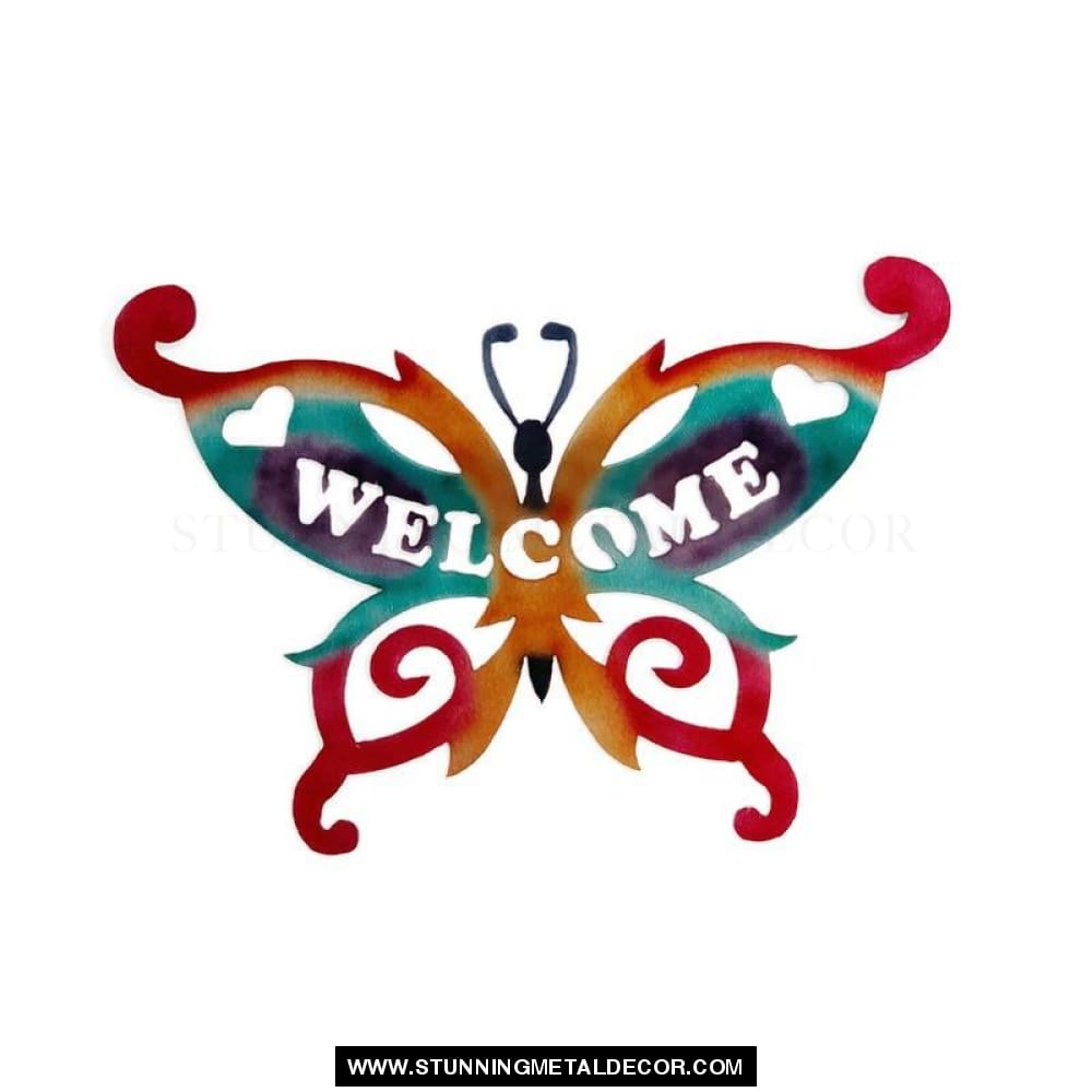 Welcome Butterfly Metal Yard Art