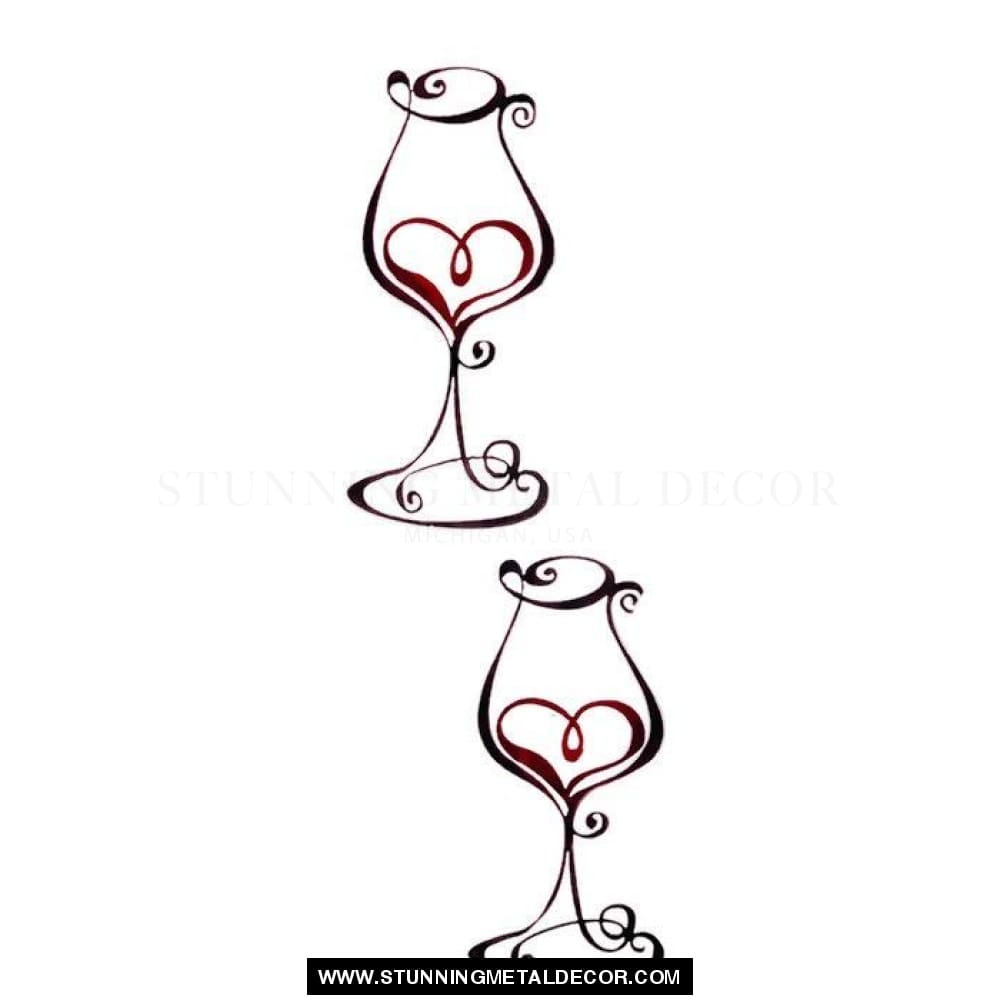 Wine Glasses With Heart Sign Metal Wall Art Pair Signs