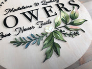 Established Sign - Hand-painted Watercolor Flower & Leaves