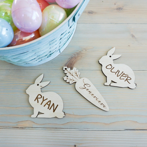 Easter Baskets Name Tags - Full Rabbit (Customize)