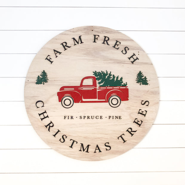 Farm Fresh Christmas Trees Sign with Red Truck - 30""