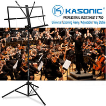 Load image into Gallery viewer, Music Stand, Kasonic Professional Collapsible Orchestra Portable and Light weight with Music Sheet Clip Holder & Carrying Bag Suitable for Instrumental Performance