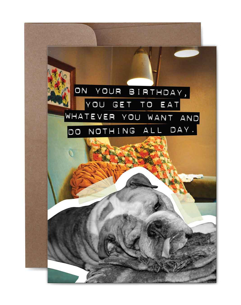 Do Nothing All Day Birthday Card Front