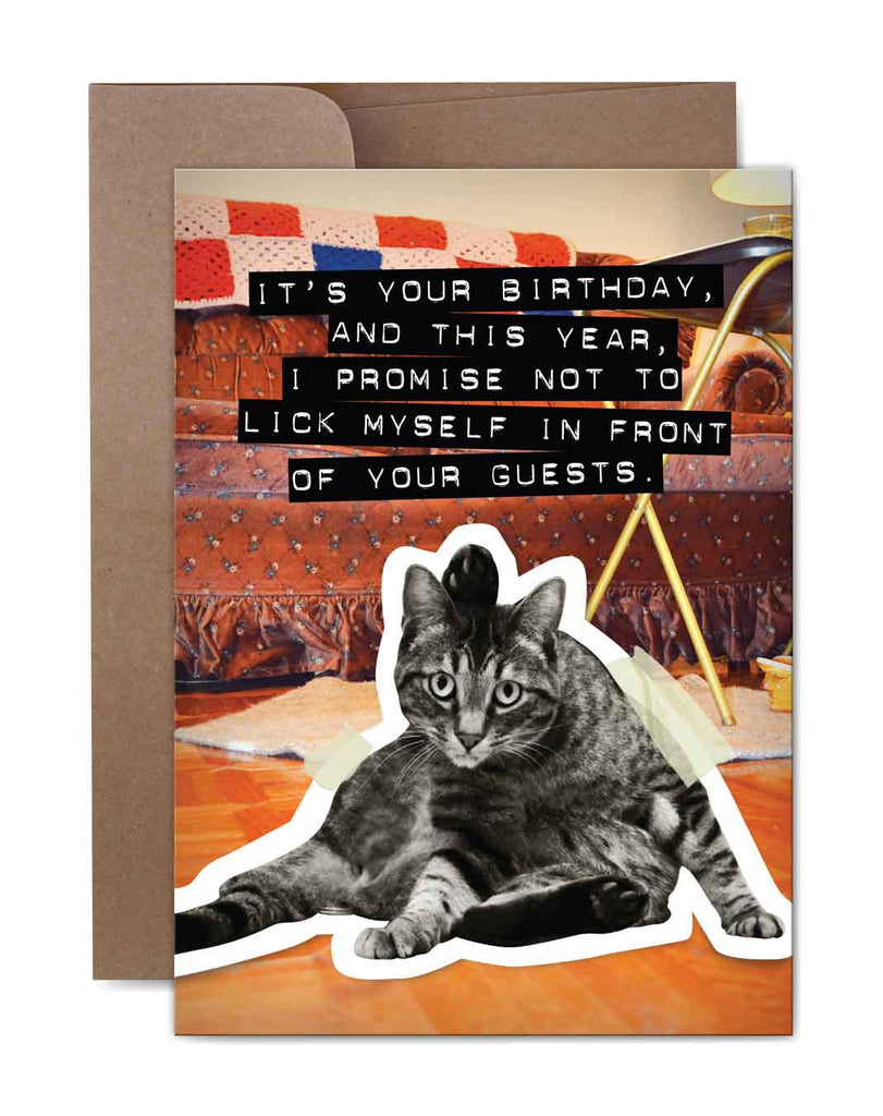 Lick Myself Birthday Card Front