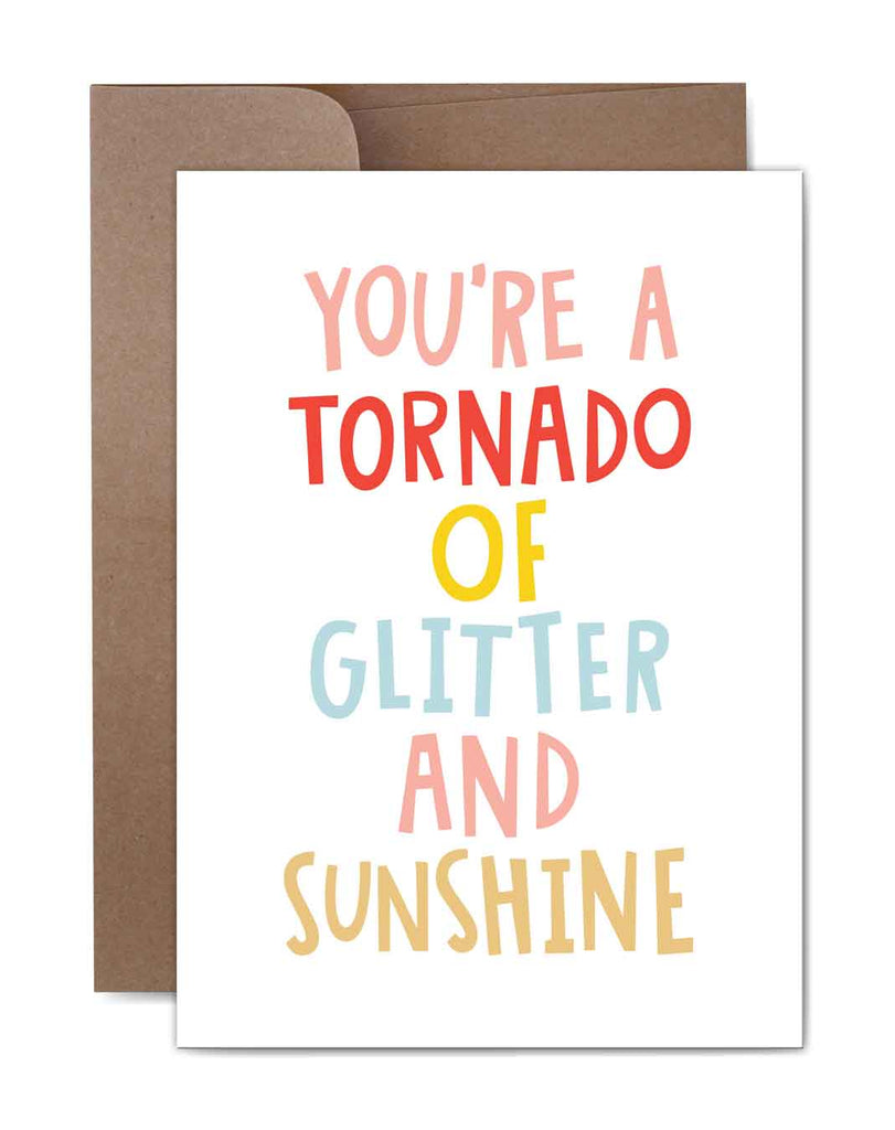 Tornado of Glitter Birthday Card Front