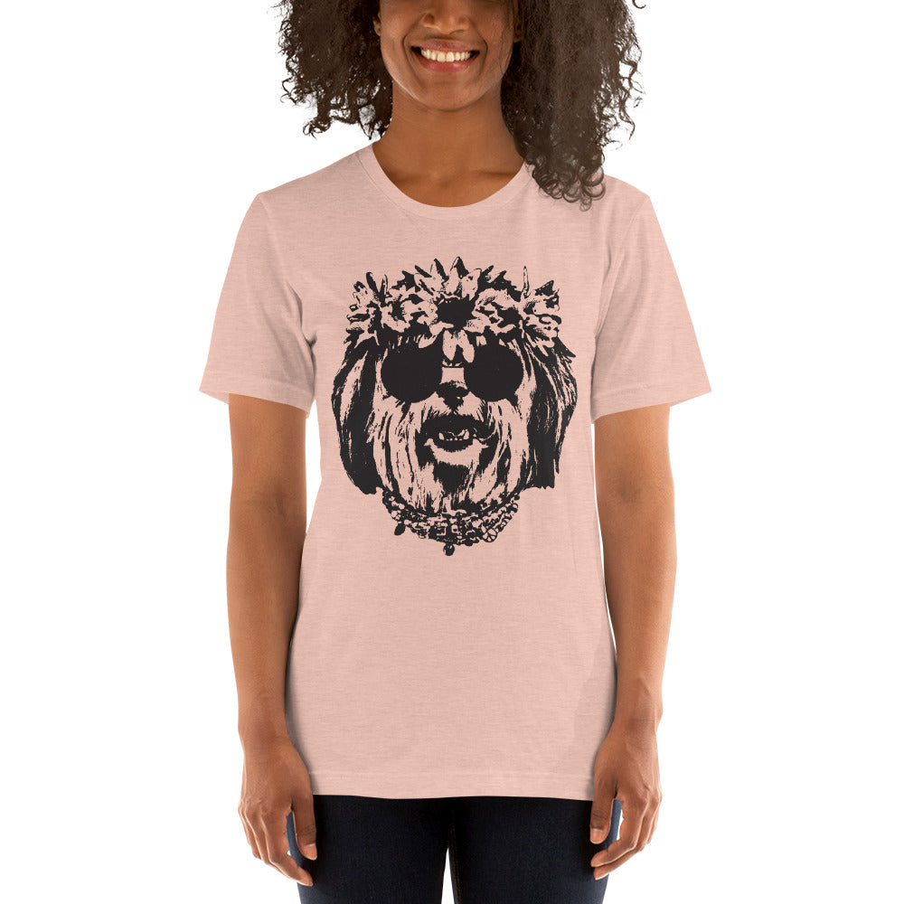 Women's Be Groovy or Leave Graphic Tee - Heather Prism Peach