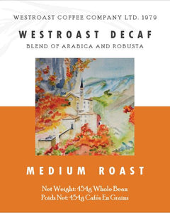 Westroast Decaf Blend Filter Coffee Net Weight: 454g.