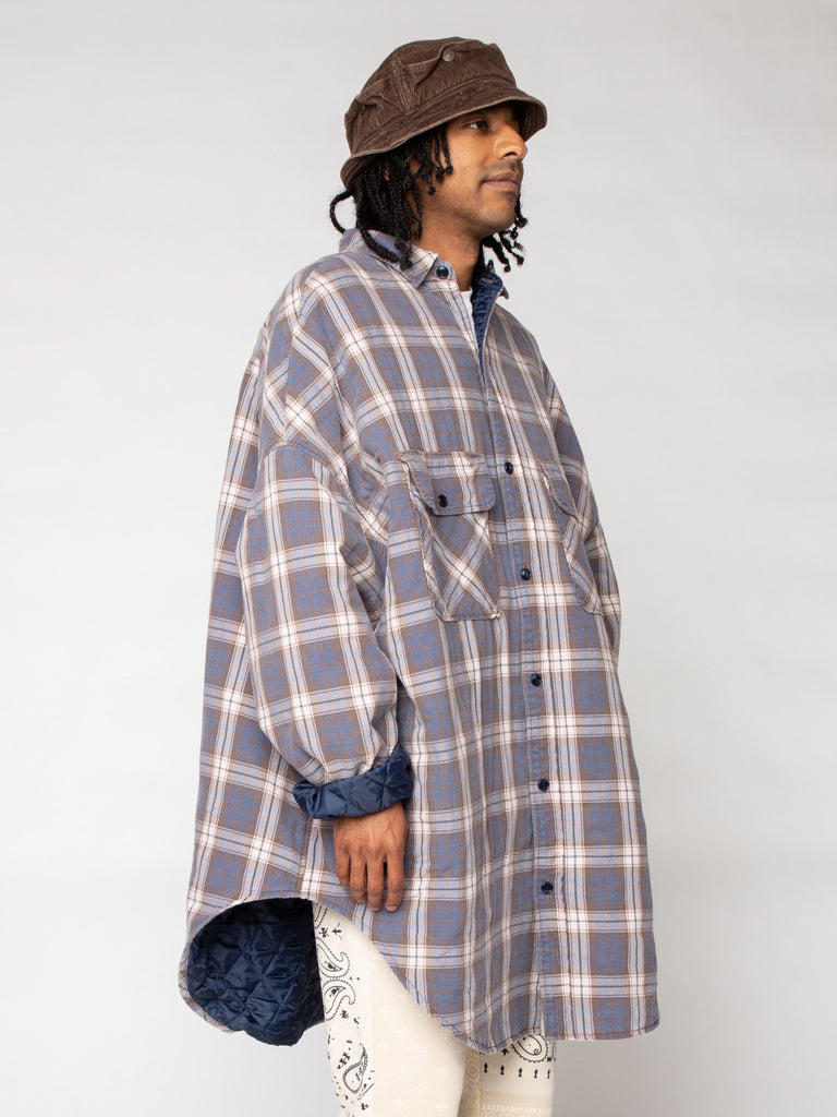 Flannel Check x Quilting Sloppy Shirt Coat16191245779021