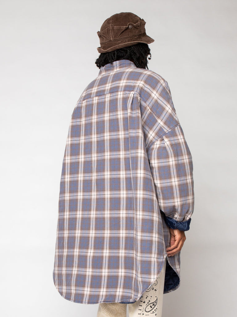 Flannel Check x Quilting Sloppy Shirt Coat16191246565453