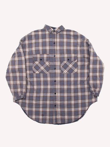 Flannel Check x Quilting Sloppy Shirt Coat