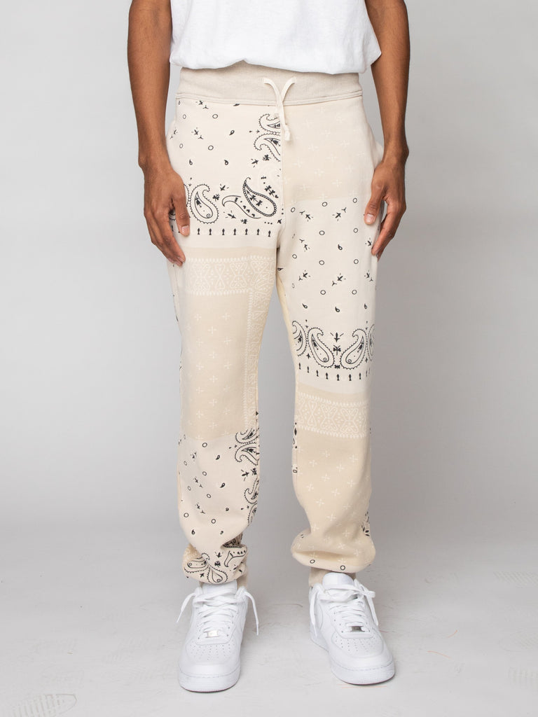Ecru Fleece Knit BANDANA Sweatpants 216191246237773