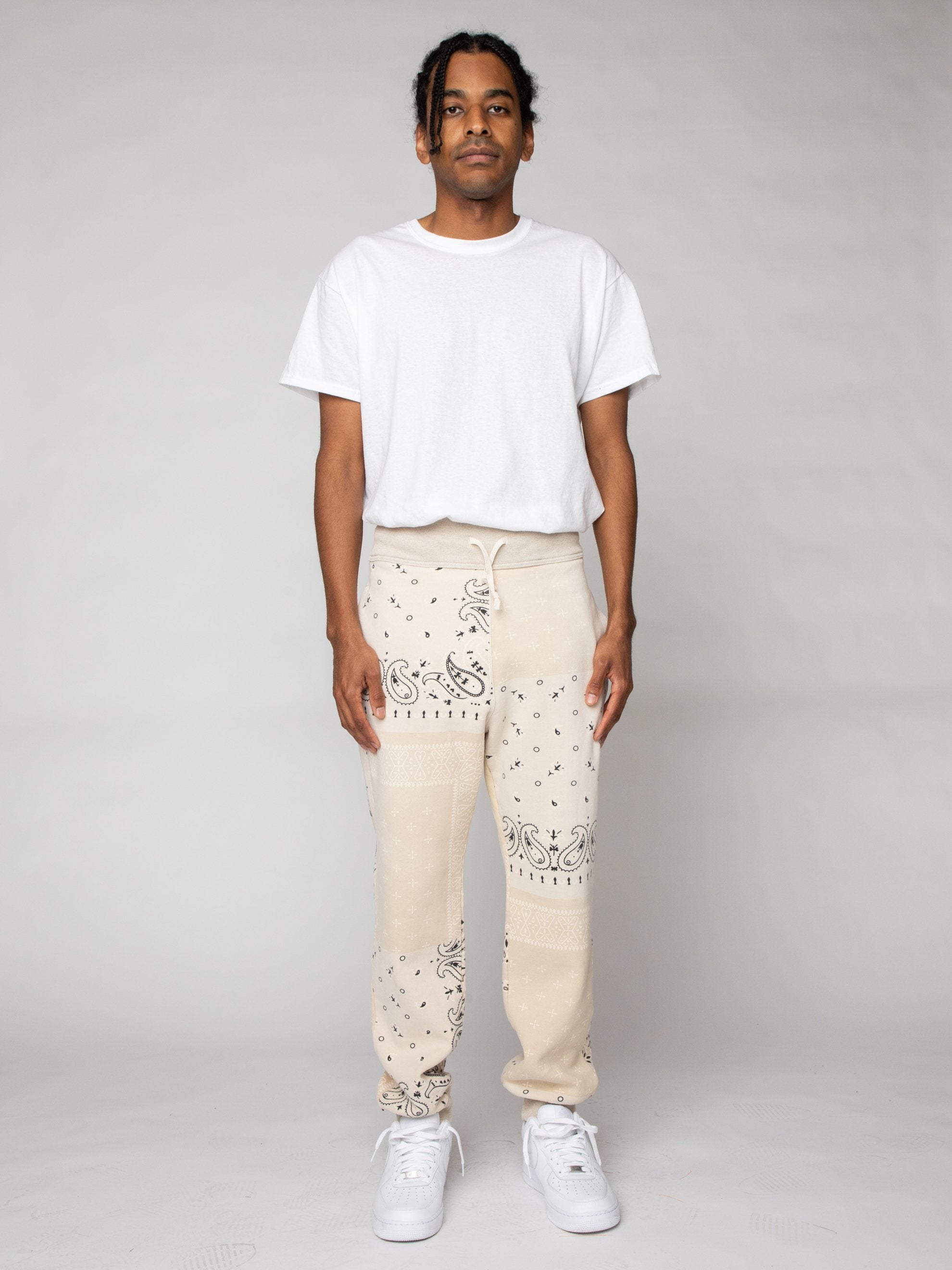 Ecru Fleece Knit BANDANA Sweatpants 3
